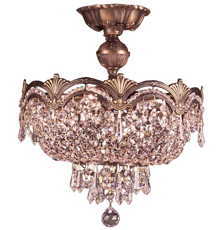 "Classic Lighting 1856-RB 14"" Crystal Semiflush from the Regency II"