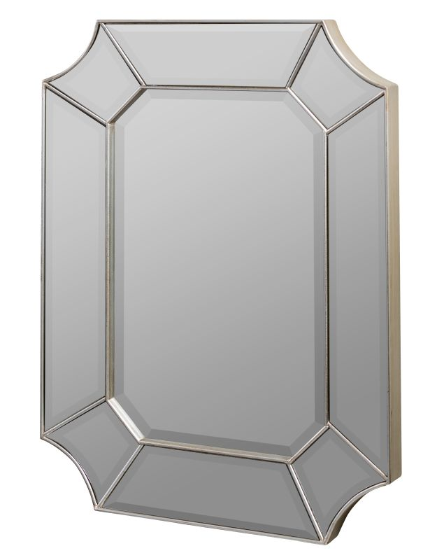 "Cooper Classics 40144 Nelson 32"" X 24"" Wall Mirror Silver with Red"