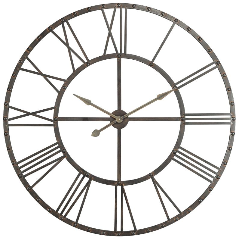 "Cooper Classics 40229 Upton 44.5"" X 44.5"" Wall Clock Aged Steel Home"