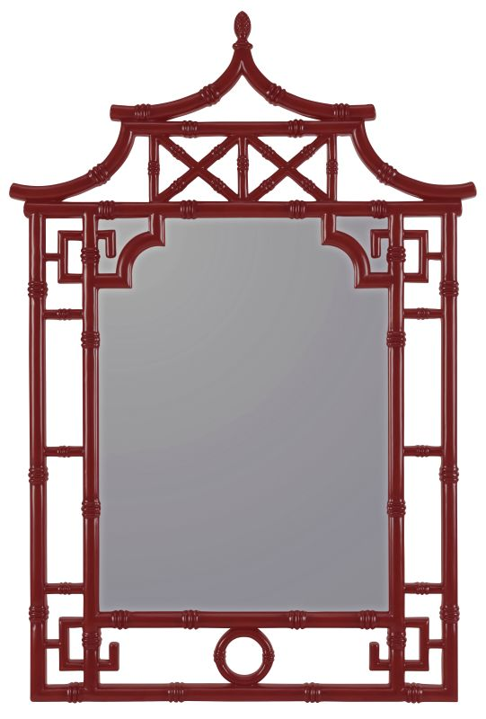 "Cooper Classics 40645 Lilly 42"" X 28.25"" Wall Mirror Glossy Red Home"
