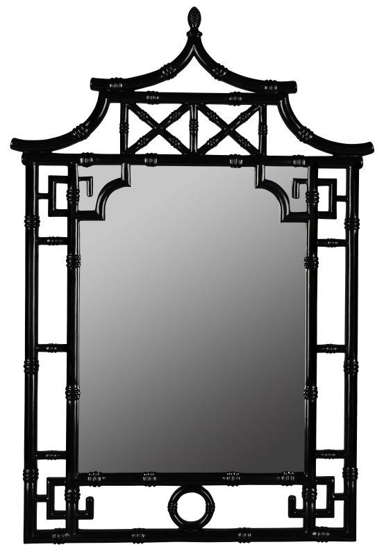 "Cooper Classics 40740 Pagoda 42""H X 28.25"" Mirror Glossy Black Home"