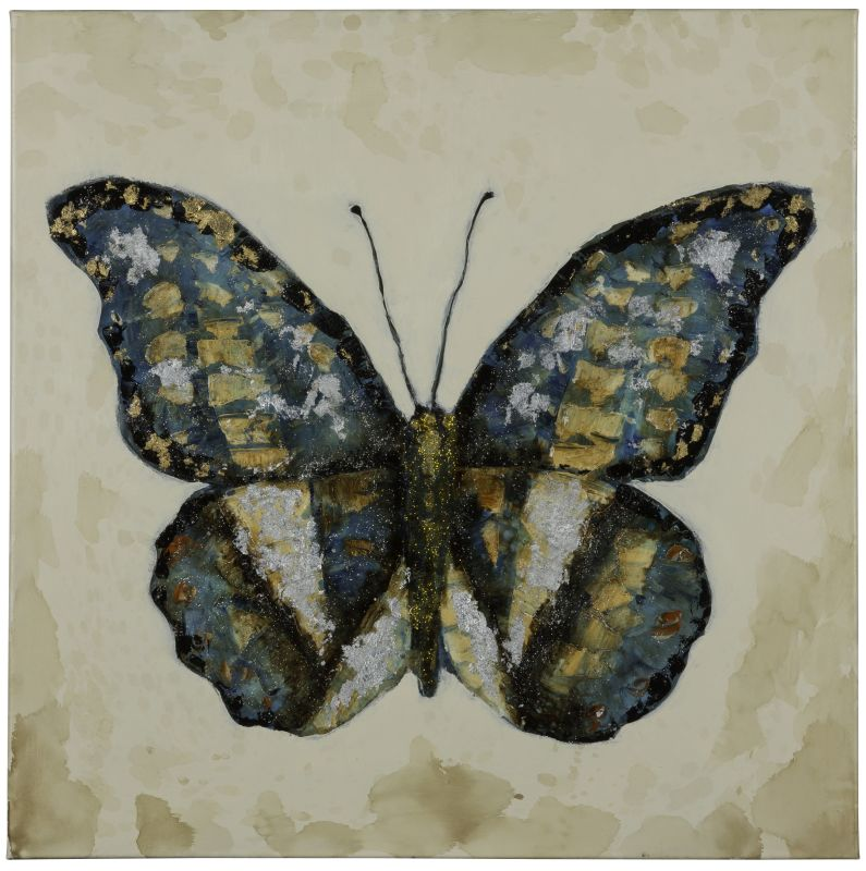 "Cooper Classics 40817 Shimmering Butterfly 30"" X 30"" Canvas Art Blues"
