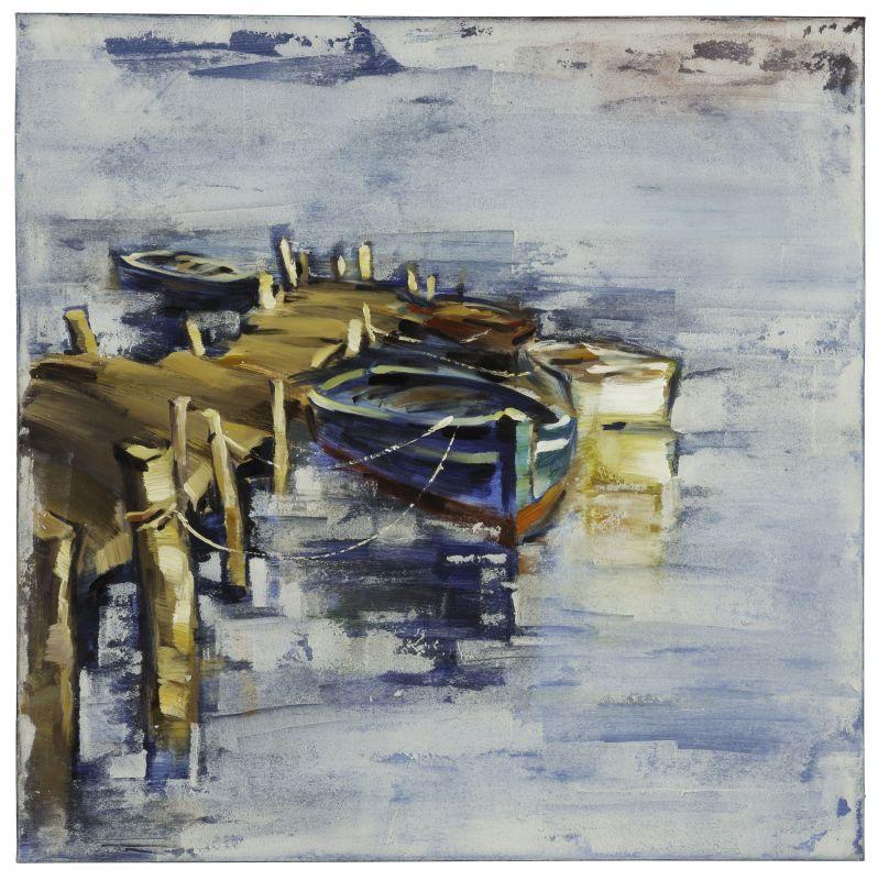 """Cooper Classics 40882 Boat I 40"""" X 40"""" Canvas Art Blues / Neutrals"""