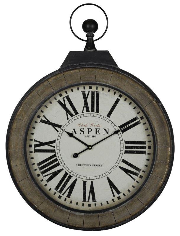 """Cooper Classics 40924 Aspen 38"""" X 29"""" Clock Black Home Decor Wall"""