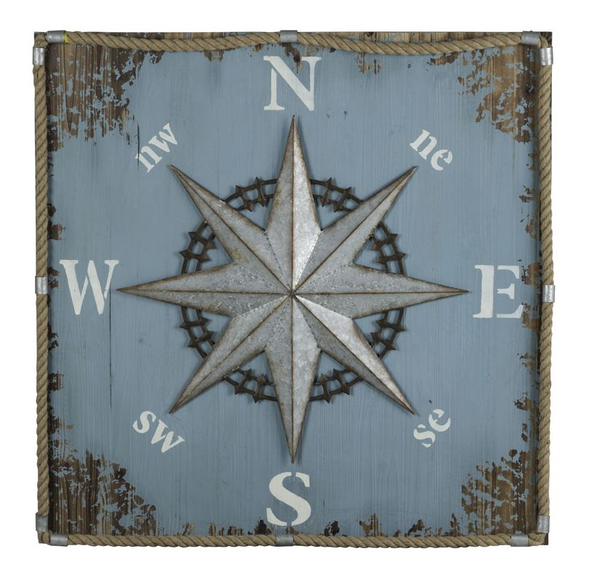 """Cooper Classics 41010 Compass 41"""" X 40"""" Wall Hanging Aged Sky Blue"""