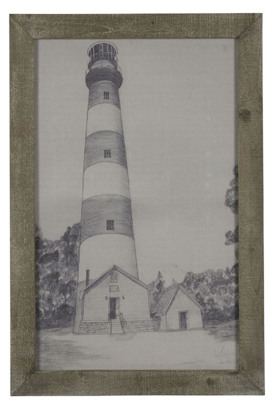 "Cooper Classics 41023 Lighthouse 39"" X 27"" Framed Print Grey Home"