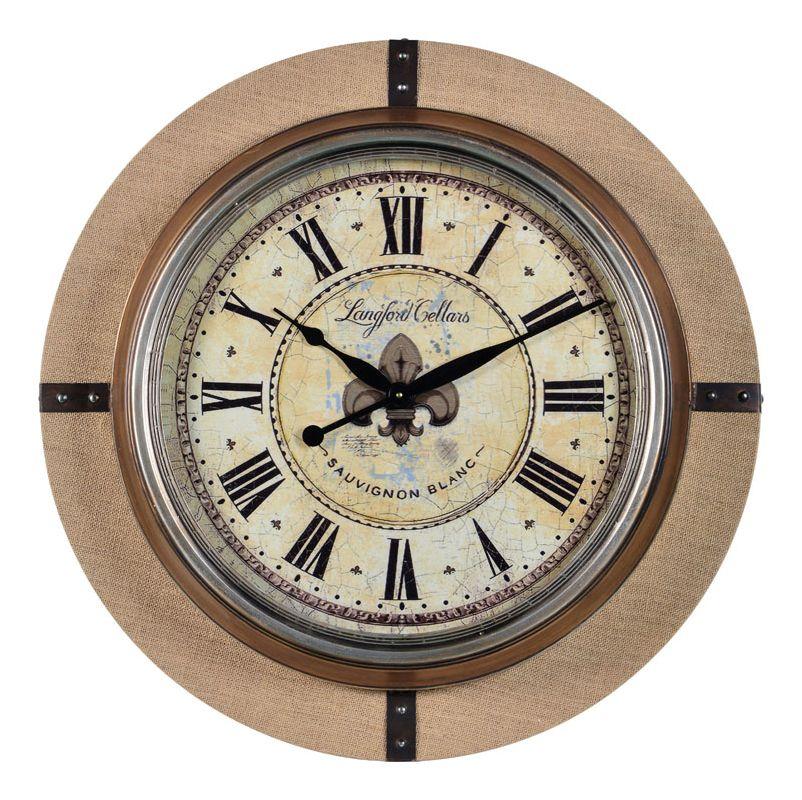 """Cooper Classics 41039 Otis 30"""" X 30"""" Wall Clock Burlap Home Decor Wall"""