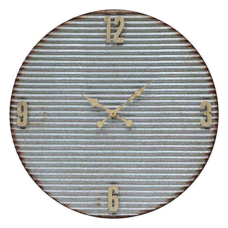 """Cooper Classics 41041 Argus 32"""" X 32"""" Wall Clock Corrugated Galvanized"""