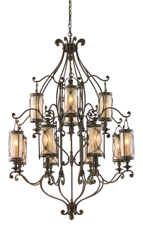 Corbett Lighting 67-012 Wrought Iron 12 Light 2 Tier Chandelier from