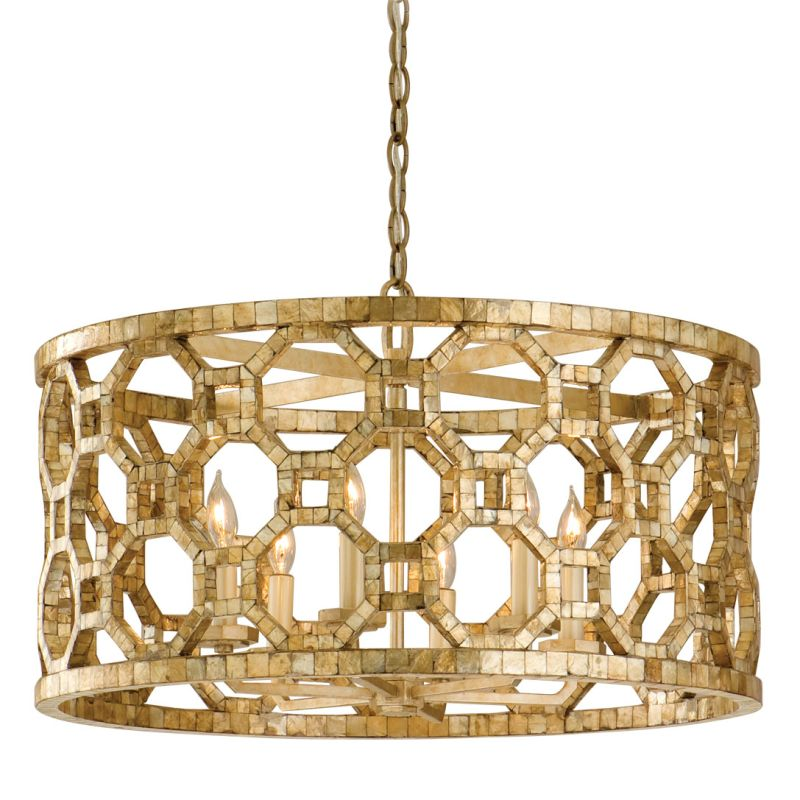 Drum Chandelier With Hand Crafted Iron Frame And Smoked Capiz Shell