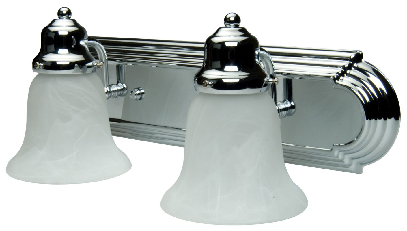 Craftmade 11718-KIT-CH2 Chrome Racetrack 2 Light Bathroom Vanity Light - 18 Inches Wide ...
