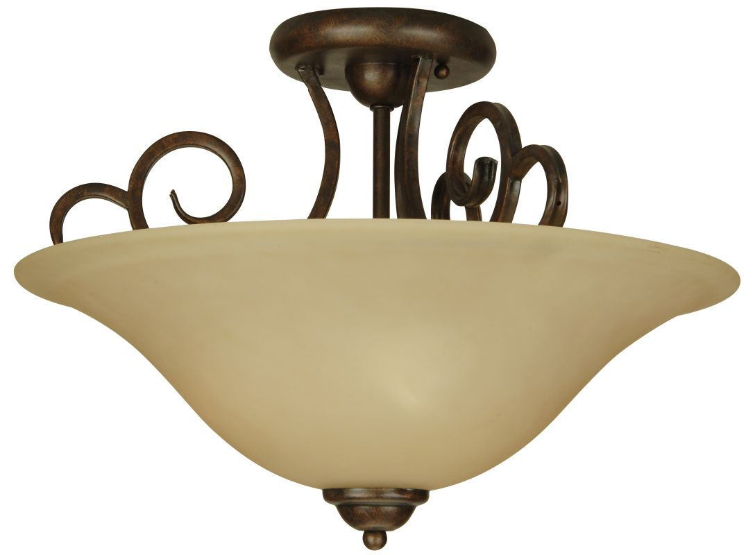Craftmade 7118SF Builders 3 Light Semi-Flush Ceiling Fixture Peruvian