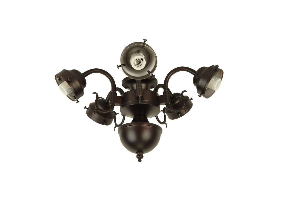 Craftmade F545CFL Five Light Ceiling Fan Fitter Oiled Bronze Ceiling