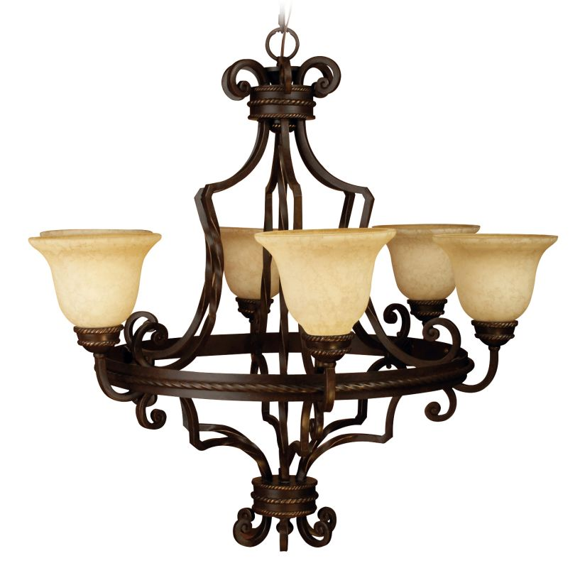 Craftmade 8134 Riata Single Tier 6 Light Candle Style Chandelier -