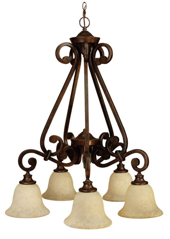 Craftmade 9127 Scroll Single Tier 5 Light Mini Chandelier - 27.5