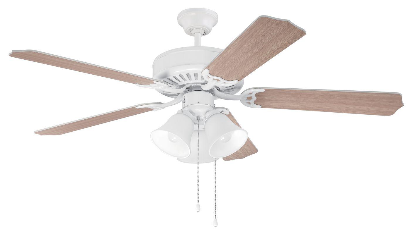 "Craftmade C205 Pro Builder 52"" 5 Blade Indoor Ceiling Fan - Light Kit"