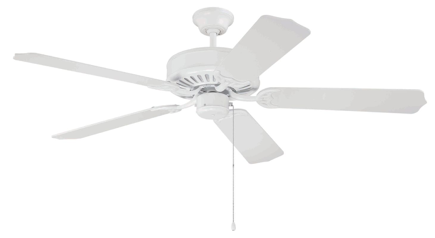 "Craftmade C52 Pro Builder 52"" 5 Blade Indoor Ceiling Fan White Fans"