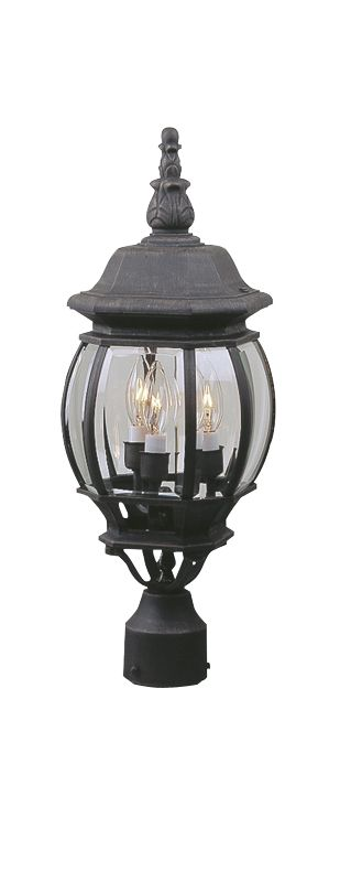 Craftmade Z335 French Style 3 Light Outdoor Post Light Matte Black