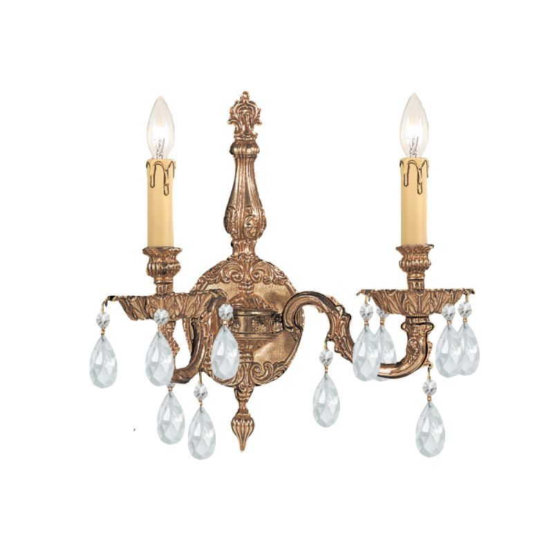 Crystorama Lighting Group 2502-CL Cortland 2 Light Cast Brass Candle