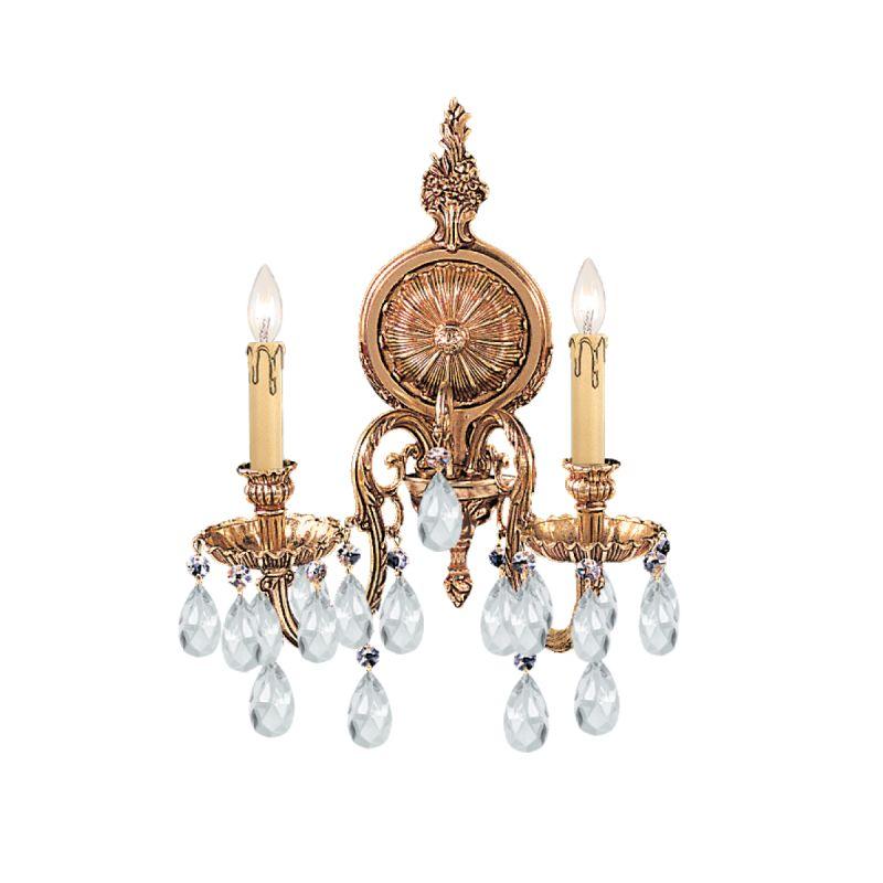 Crystorama Lighting Group 2902-CL Baroque 2 Light Cast Brass Crystal