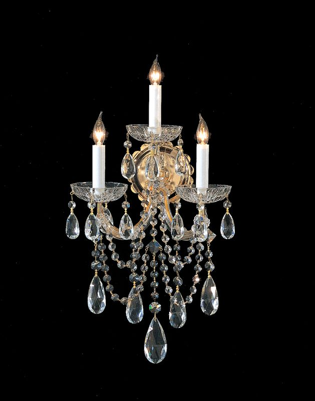 Crystorama Lighting Group 4423-CL Maria Theresa 3 Light Swarovski