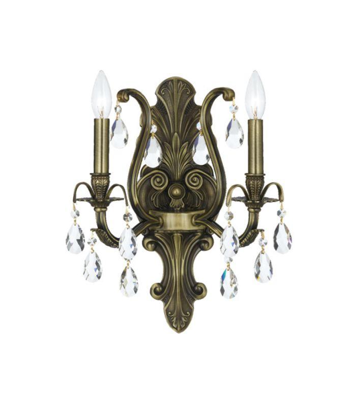 Crystorama Lighting Group 5563-AB Dawson 2 Light Candle Style Crystal