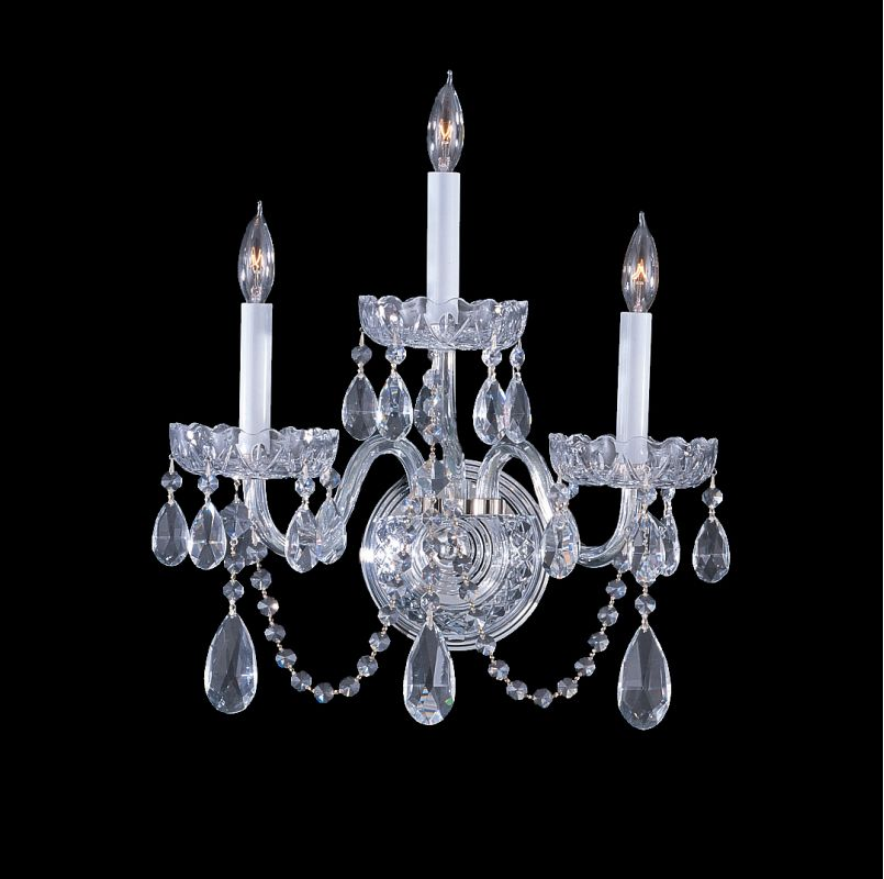 Crystorama Lighting Group 1033-CL-MWP Traditional Crystal 3 Light Wall