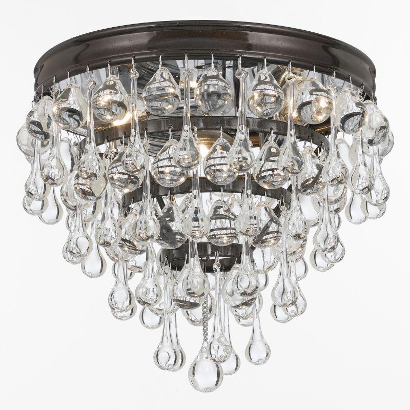 Crystorama Lighting Group 135-VZ Calypso 3 Light Crystal Flush Mount