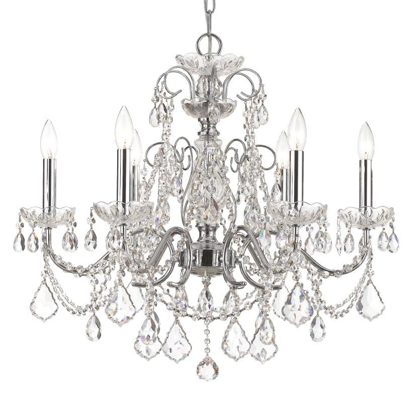 """Crystorama Lighting Group 3226-CL-SAQ Imperial 6 Light 26"""" Wide Steel"""