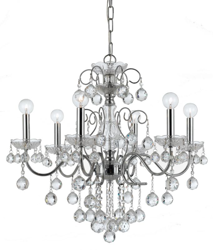 """Crystorama Lighting Group 3326-CL-MWP Imperial 6 Light 24"""" Wide Brass"""