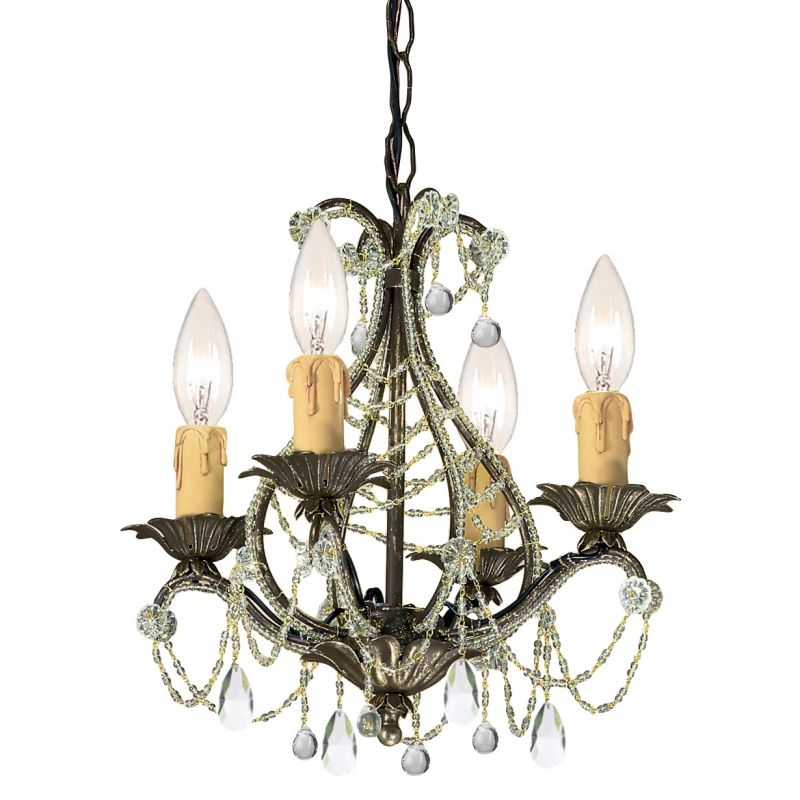 """Crystorama Lighting Group 4714-CL-MWP Abigail 4 Light 14"""" Wide Candle"""