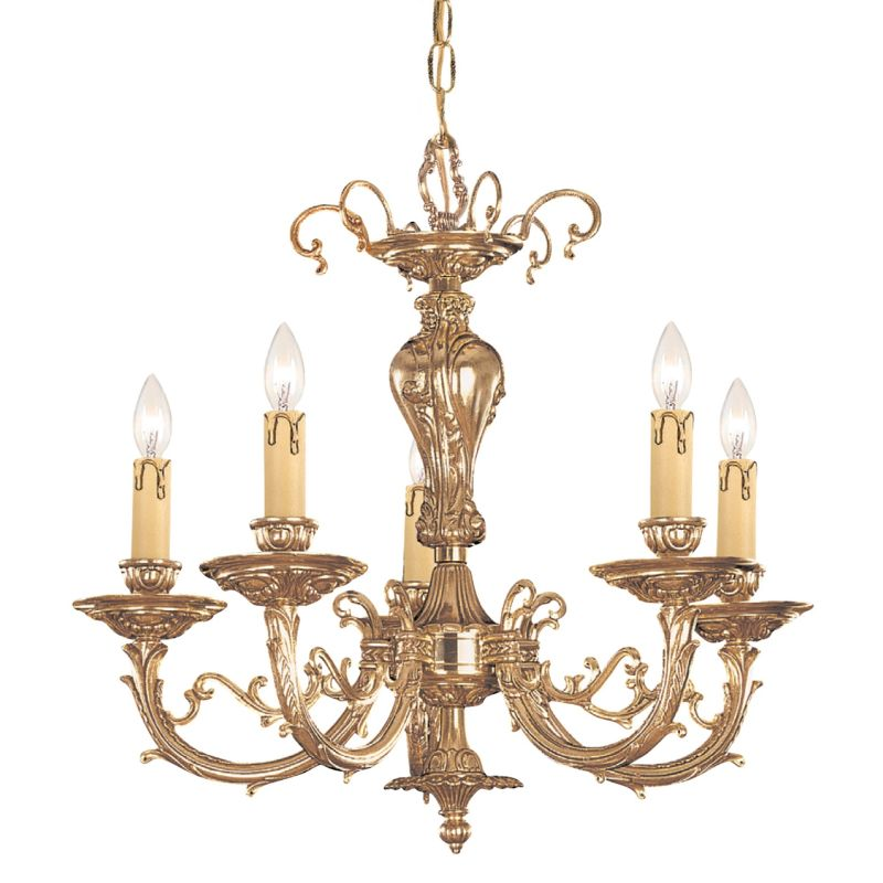"Crystorama Lighting Group 485 Etta 5 Light 20"" Wide Cast Brass Candle"
