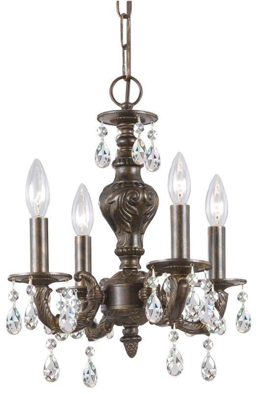 """Crystorama Lighting Group 5024-CL-MWP Sutton 4 Light 14"""" Wide Wrought"""
