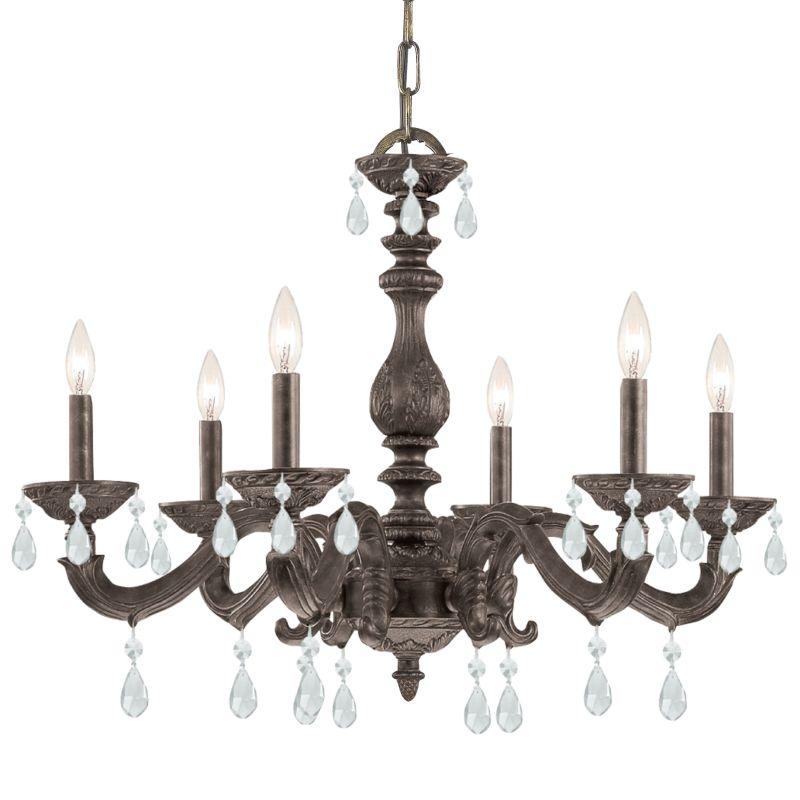 "Crystorama Lighting Group 5036-CL-SAQ Sutton 6 Light 28"" Wide Wrought"