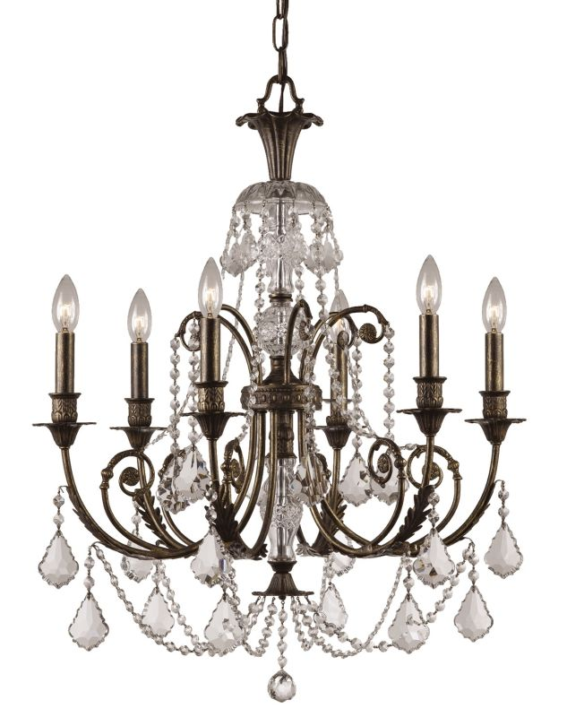 "Crystorama Lighting Group 5116-CL-SAQ Regis 6 Light 26"" Wide Wrought"