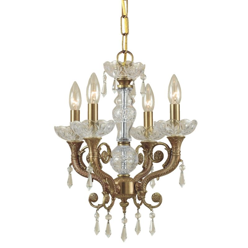 "Crystorama Lighting Group 5174-CL-SAQ Regal 4 Light 14"" Wide Cast"