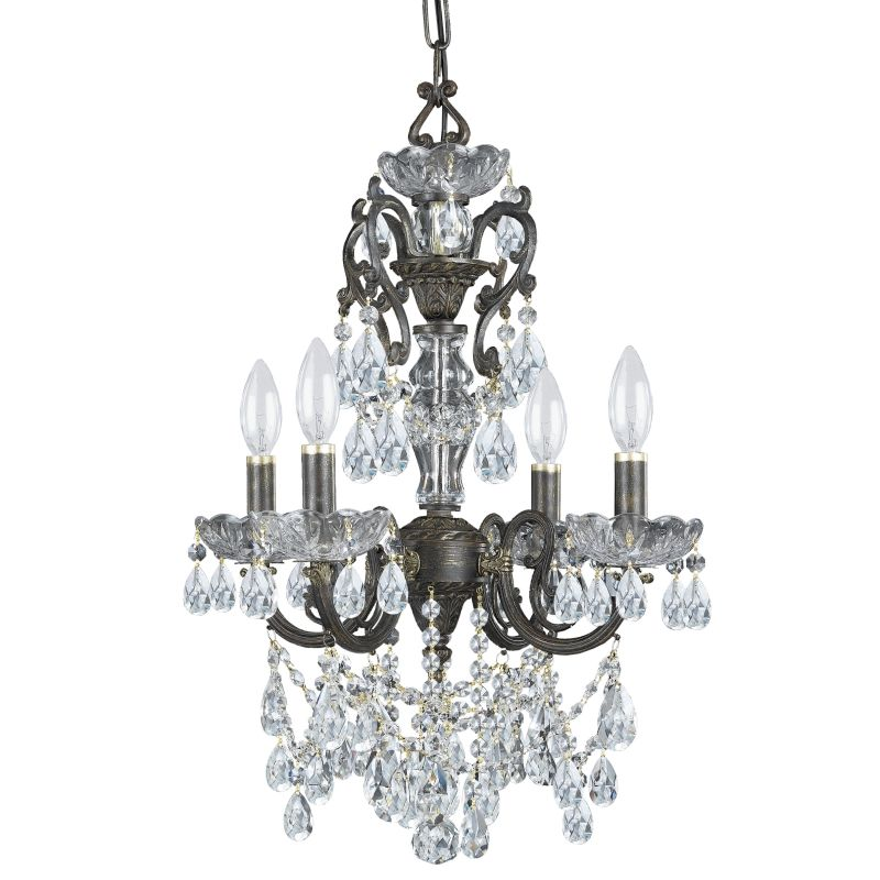 "Crystorama Lighting Group 5194-CL-SAQ Legacy 4 Light 15"" Wide Wrought"