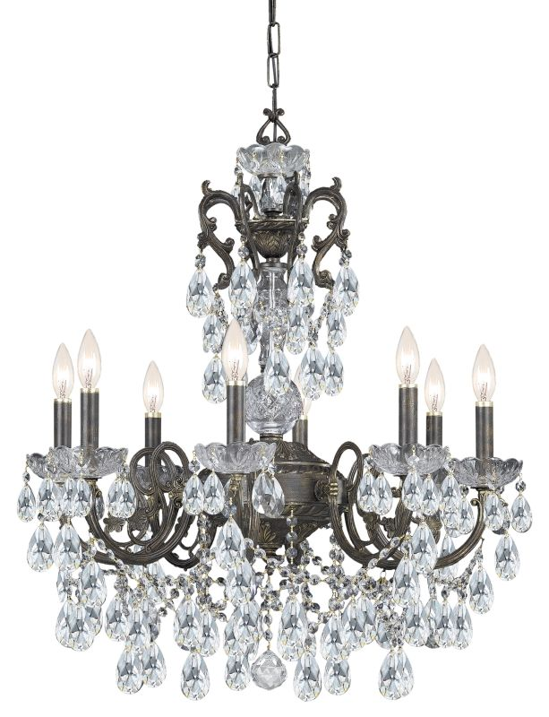 "Crystorama Lighting Group 5198-CL-MWP Legacy 8 Light 26"" Wide Wrought"