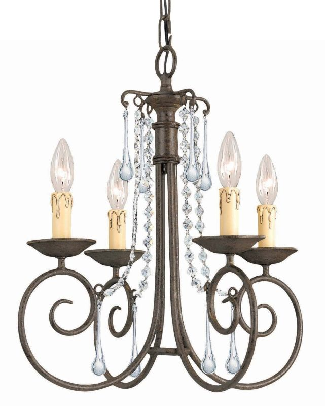 "Crystorama Lighting Group 5204-CL-SAQ Soho 4 Light 17"" Wide Wrought"