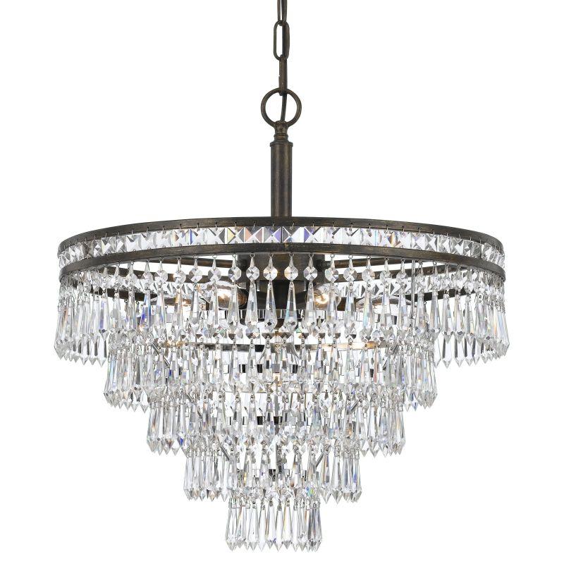 "Crystorama Lighting Group 5264-CL-MWP Mercer 6 Light 20"" Wide Steel"