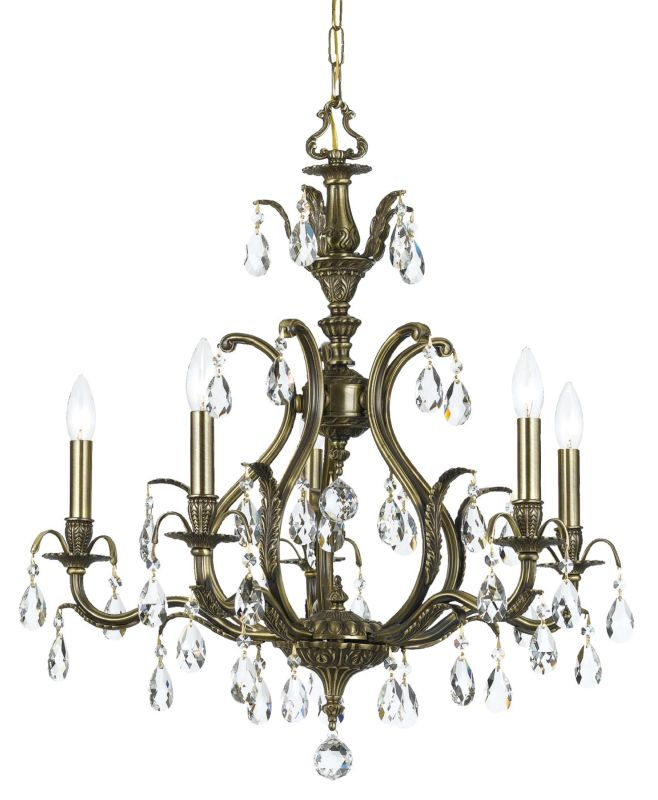"Crystorama Lighting Group 5565-CL-S Dawson 5 Light 27"" Wide Brass"