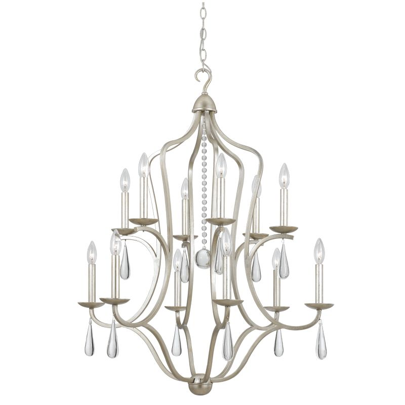 "Crystorama Lighting Group 5978 Manning 12 Light 30"" Wide Wrought Iron"
