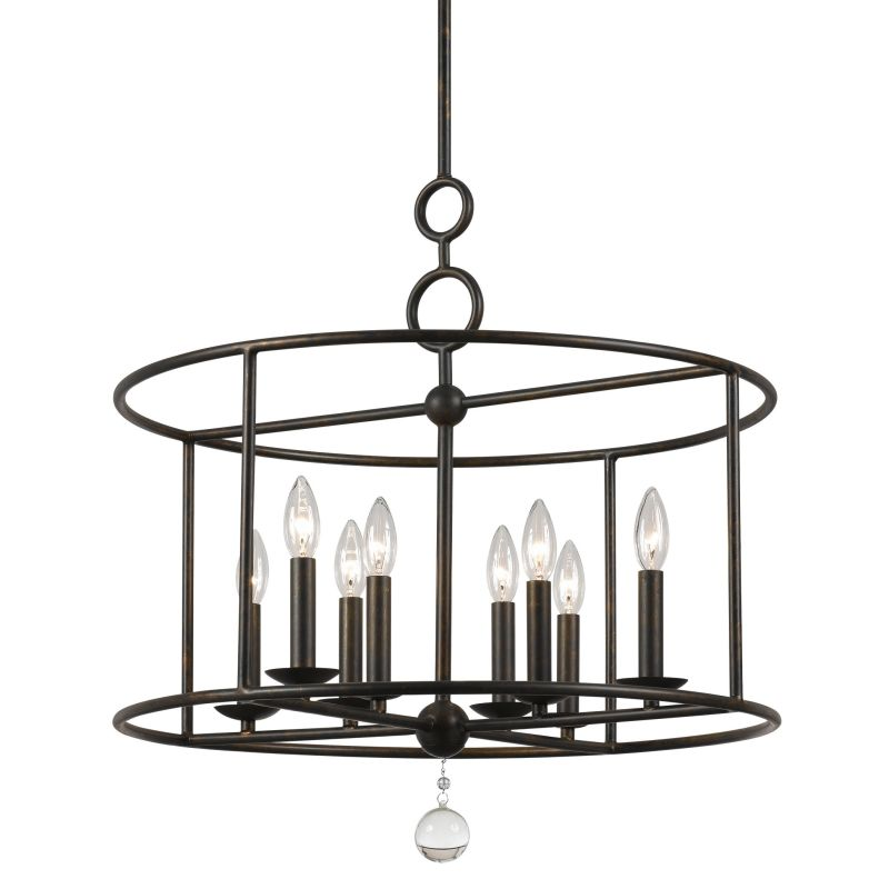 "Crystorama Lighting Group 9166 Cameron 8 Light 24"" Wide Wrought Iron"