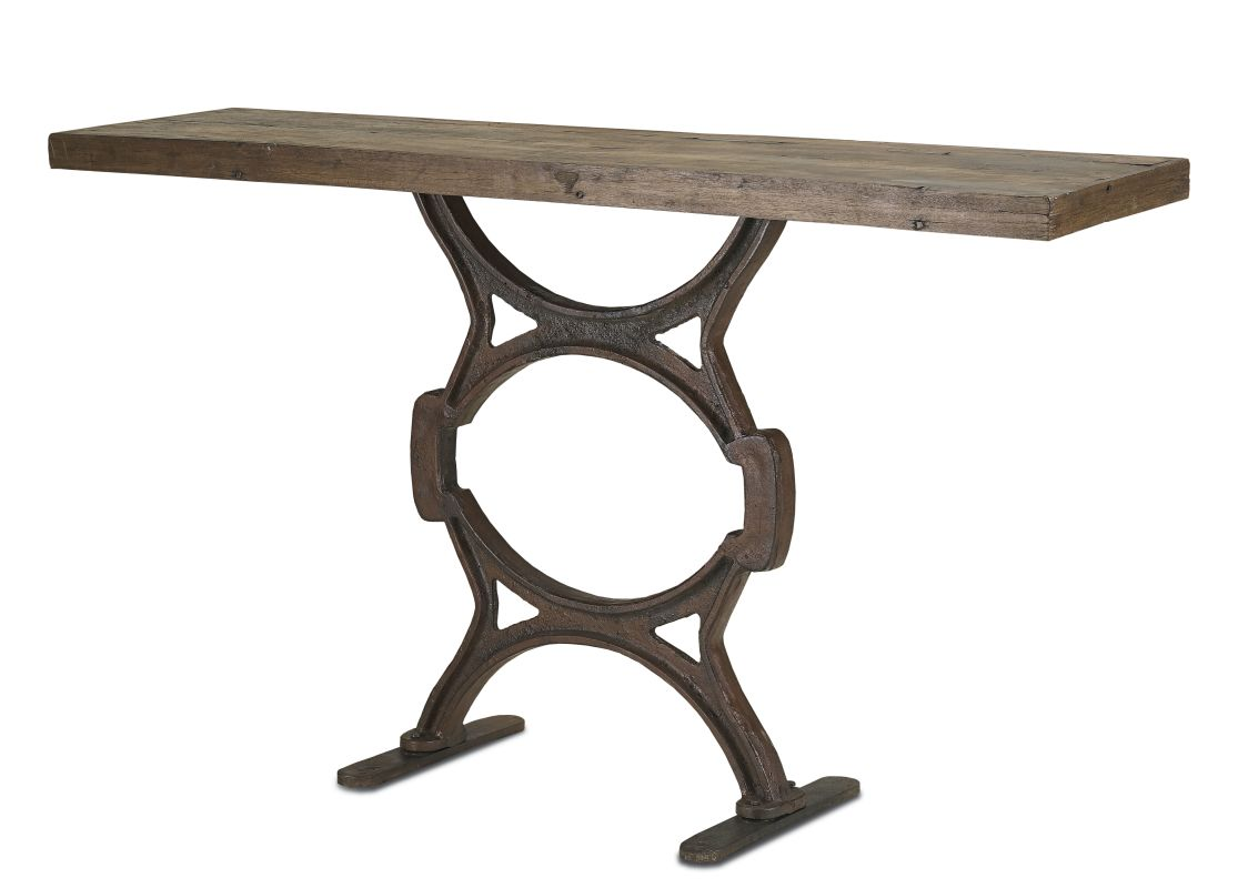 Currey and Company 3022 Wrought Iron Factory Console Table Rustic /