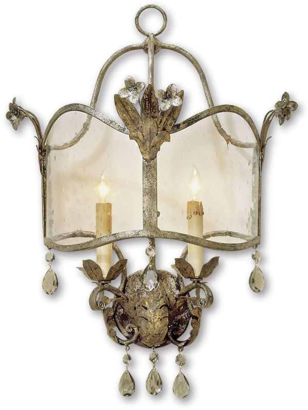 Currey and Company 5357 Zara Wall Sconce Viejo Gold/Silver Indoor