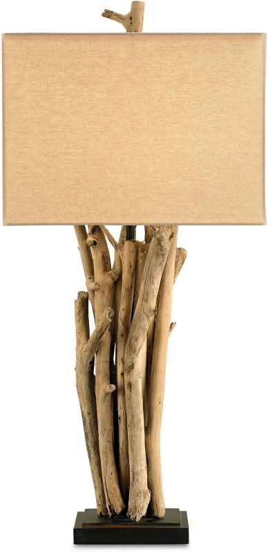Currey and Company 6344 Driftwood Table Lamp with Beige Linen Shades
