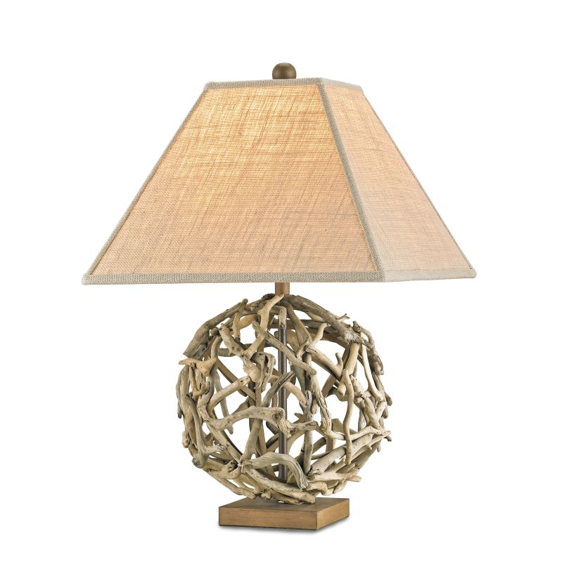 Currey and Company 6444 Driftwood Sphere Table Lamp with Putty Burlap