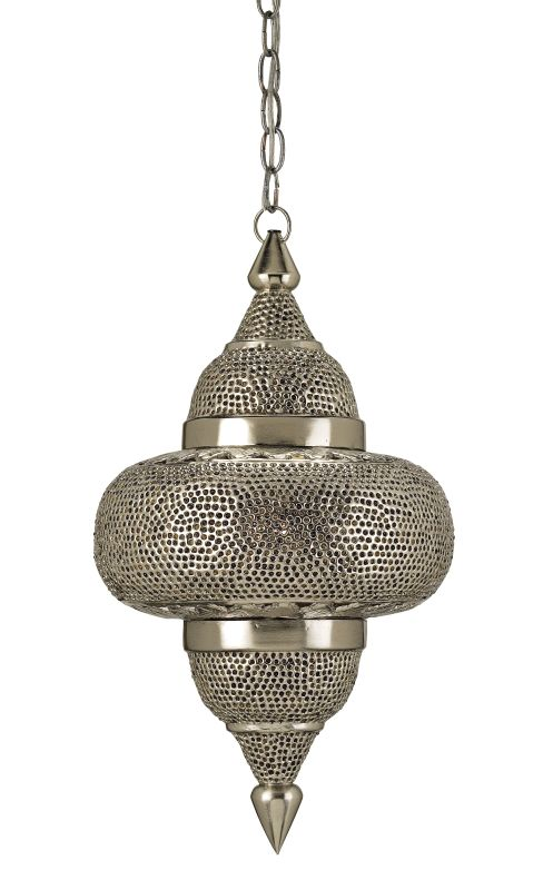 Currey and Company 9103 Tangiers 1 Light Steel Pendant Nickel / Copper