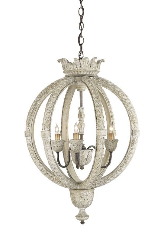 Currey and Company 9134 3 Light Wrought Iron Small Dauphin Chandelier