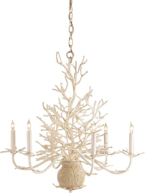 Currey and Company 9218 Seaward 6 Light Chandelier with White Coral